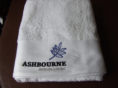 Hand Towel Embroidered Company Logo Care Homes